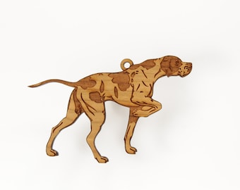English Pointer Ornament from Timber Green Woods. Personalize it with Name Engraving. Made in the U.S.A! - Cherry Wood