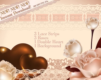 Clip Art, Lace Clipart, Rose Clipart, Heart Clip Art