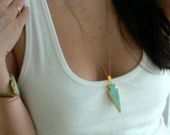Amazonite arrow gold edge necklace- Boho green arrow gemstone pendant- gold filled amazonite- Fashion,trendy accessory- Women gift