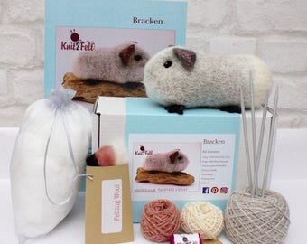 Bracken Guinea Pig Knitting and felting Kit Free UK Shipping