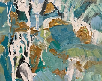 Blue, Green, Gold, Calm, Abstract, Painting, Art, Canvas, Texture, 12x12
