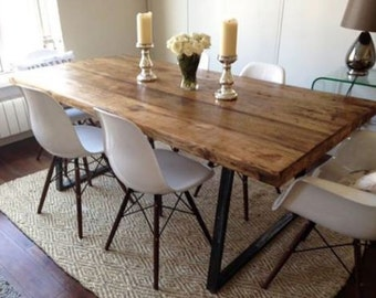 Vintage Industrial Rustic Reclaimed Plank Top Dining Table With Triangle Steel Base Handmade UK