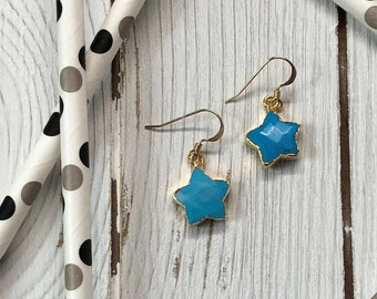 Turquoise Star Earrings Turquoise Earrings Dangle Earrings Small Dangle Earrings Earring Gifts Under 20 Gifts For Her Earrings For Her