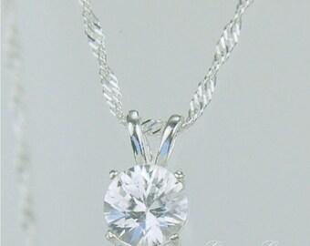 White Zircon Necklace Sterling Silver 7mm Round 1.50ct
