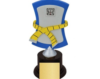 Weight Loss Scale Biggest Loser Trophies with 4 lines of custom text