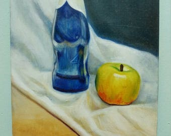 Still Life of Apple and Beer: Original Oil Painting