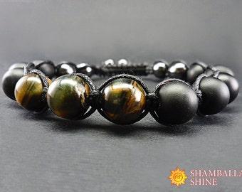 Healing energy bracelet Mens gemstone bracelet Black mens bracelet Shungite bracelet Hawk eye bracelet Energy mens jewelry Beaded bracelet