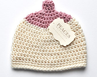 Newborn Boobie Breastfeeding Hat -  Pink & Off White Baby Hat