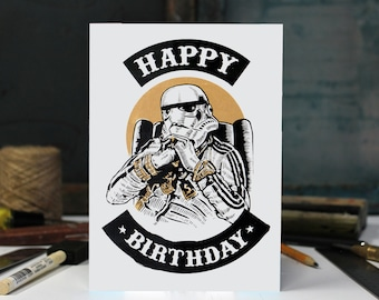 Birthday Boy Storm Trooper,Friendship, Birthday, humor, Anniversary Screen Printed by Hand.