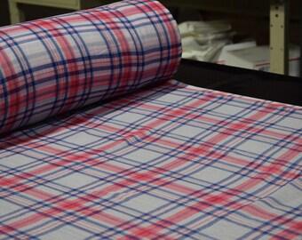 "Pink Blue White Plaid Print Georgette Gauze Fabric Craft Apparel 45""W #14 Sheer"