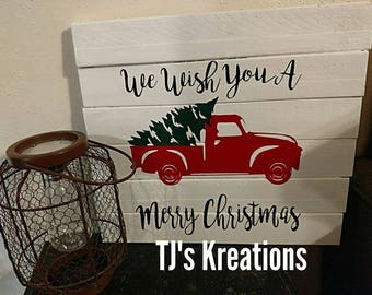 we wish you a merry Christmas truck and tree sign