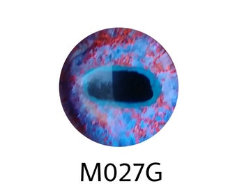 "M027G Glass Eye Cabochon, ""demon goat"" handpainted on clear domed fused glass, blue/pink shift with red sparkle, ice silver blue, single eye"