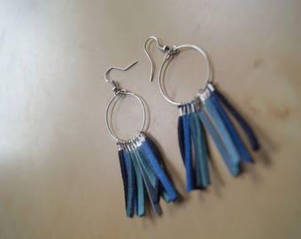 Hoop earrings with shades of Blue Suede