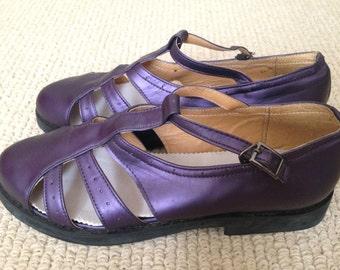 Purple Handmade Genuine Leather Fisherman Oxford Preppy Sandals: Size 8.5 or 25