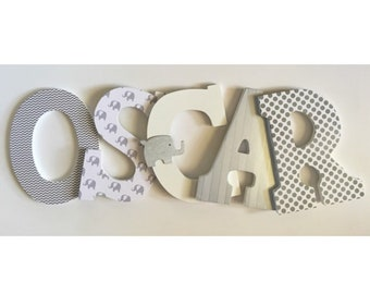 Letters for nursery Elephant nursery letters Elephant nursery art Name cutout Nursery name sign Grey nursery wall decor Baby shower gift