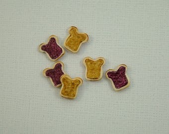 Peanut Butter and Jelly Embellishment set of 6