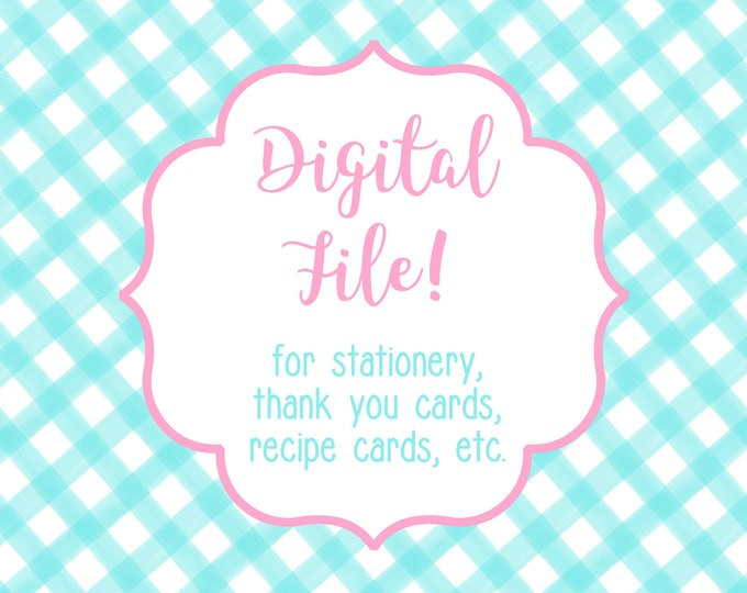 DIGITAL / PRINTABLE FILE for Thank You Notes, Stationery, Notecards, Recipe Cards, etc - Use this link to purchase a printable file