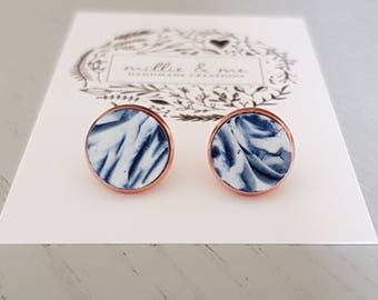 Rose gold and navy blue swirl polymer clay stud earrings, polymer clay, rose gold earrings, gift for her, rose gold,