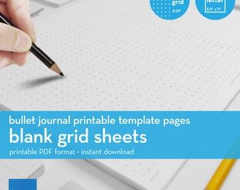 Blank Grid Sheets   Bullet Journal Printable Template   Plus grid   Letter size