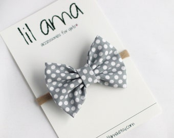 Baby Hair Bows - Baby Headband - Baby Bow - Baby Girl Headband - Gray and White Polka Dot Headband - Nylon Headband - Baby Girl Bow