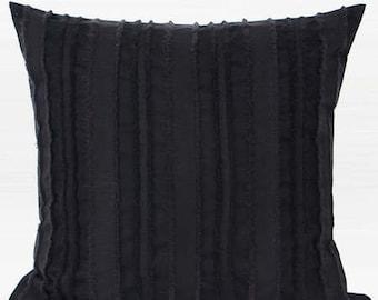 "Luxury Black Tassel Stripe Textured Pillow Cover 20""X20"""