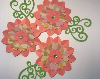 "3"" scrapbooking flower with flourishes button centers handmade by @dinikrafts"