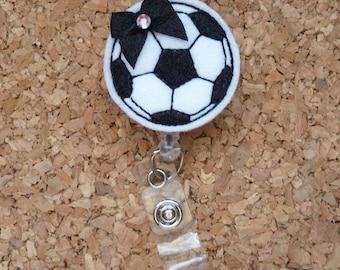 Soccer Ball Badge Reel, Soccer , Sport ID Badge Reel, Felt Badge Reel, Retractable Name Holder, 188