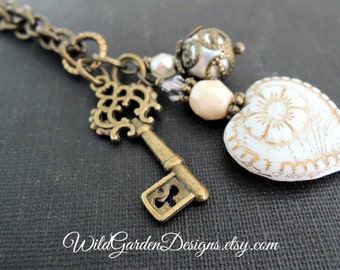 Vintage Romance White and Gold Heart Pendant Necklace Victorian Style Valentine Gift For Her Long Charm Necklace Skeleton Key Necklace