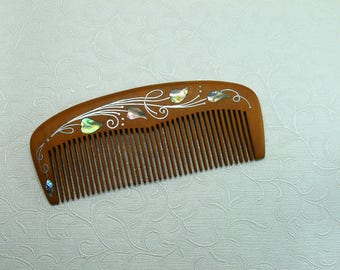 Wood comb,Accessories for hair,gift,Wooden comb,Hairbrush, comb with inlay,Healthy hair - Natural care kit,