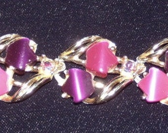 Vintage 1950's Purple & Magenta Lucite/Thermoplastic Bracelet