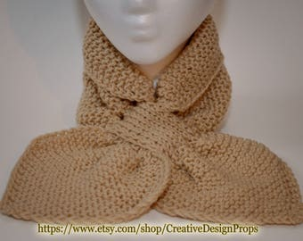 Knit Beige Ascot Scarf - Pull Through Keyhole Stay Put Popular Ascot Short Scarf Top Trend Christmas Gift Winter wear Men Women