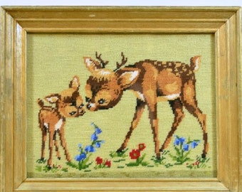 Vintage Framed Needlepoint Embroidery Stitchery Needlework Baby Deer  Fawn Friends