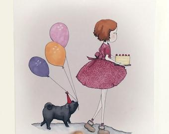 Pug Birthday card, Funny pug card,  Hand drawn Pug Happy Birthday card, Black pug, balloons greetings card, Blank Pug card,  Cute pug card