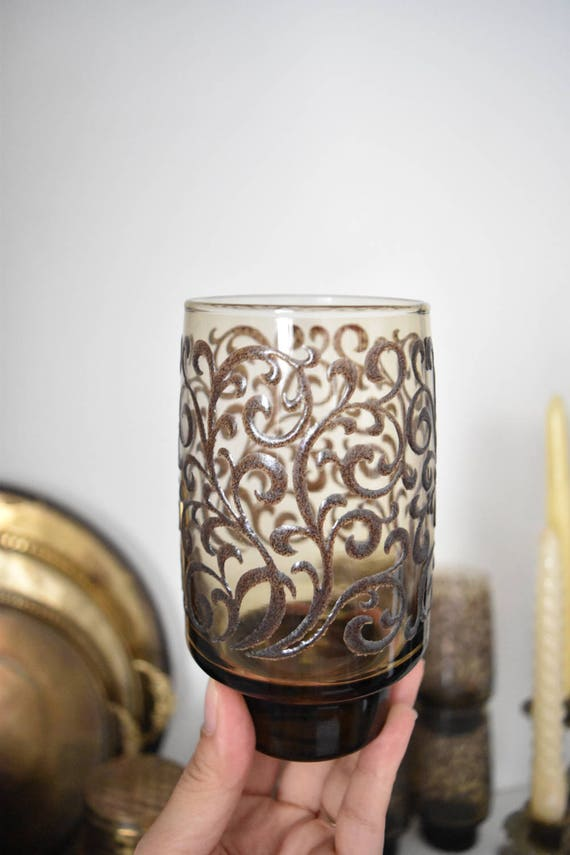 set of smoky brown mid century textured glass drinking cups / glasses / floral