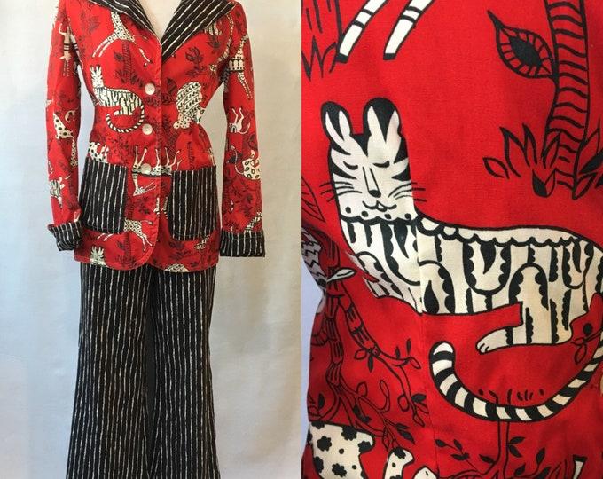 1970s Bright Cotton Print Geoffrey Beene Suit, label: The Beene Bag