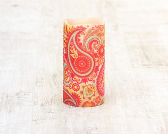 Whimsical Paisley Print Decorative Candle, Garden Decoration, Flameless Pillar Candle, Teacher Gift, Colorful Home Decor, Red Paisley Print