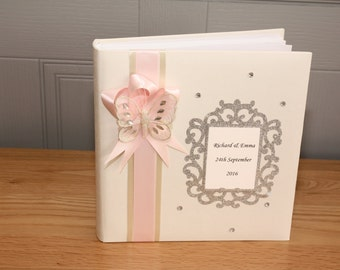 Personalised butterfly wedding, engagement, christening, party, photo album with 60 pages, any colour ribbon