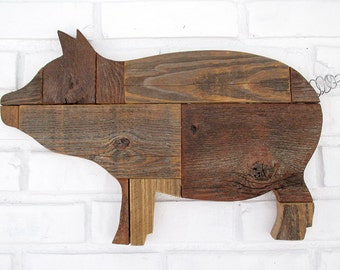 Rustic Wooden Pig Sign Wall Decor Reclaimed Wood Pig Country Farm Kitchen Folk Art #7500