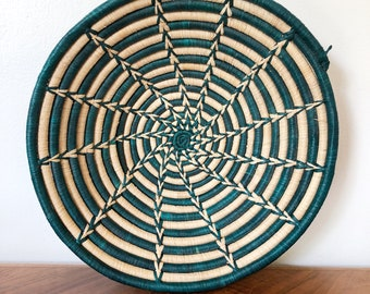Woven coiled green and tan African style basket / fruit basket / catch all / basket wall art / boho decor