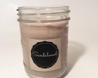 Sandalwood Soy Wax Mason Jar Candle, Handmade Soy Wax Candle, Sandalwood Scented Candle
