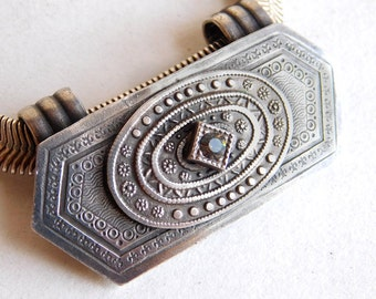 Vintage Marjorie Baer SF Stamped Silvertone Metal Necklace w/ 1 Rhinestone --Stunning Designer Piece - Art Deco Look - Exquisite Metal Work