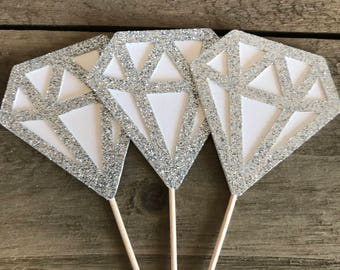 Glittered Diamond Cupcake Toppers, Diamond Cupcake Toppers, Engagement Party, Bridal Shower Toppers, Anniversary,