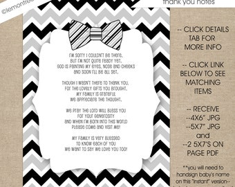 Bow Tie Baby Shower Thank You Notes with poem, INSTANT download, boy baby shower thank you cards, black gray chevron 4x6 5x7