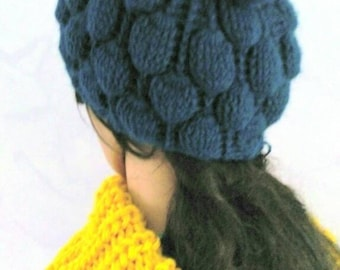 Large teal Bobbles wool hat. To order only. Completion in 2 days