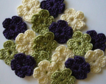 Crocheted Flowers - Purple, Green and Cream - Wool - Set of 6 - Crocheted Embellishments - Crocheted Appliques
