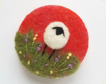 Hand felted and embroidered Sheep brooch - bright red handcrafted felted wool brooch
