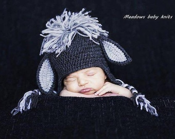 Crochet baby hat, Donkey hat, Newborn photo prop, newborn/baby hat, baby boy, baby girl, newborn prop, Animal hat