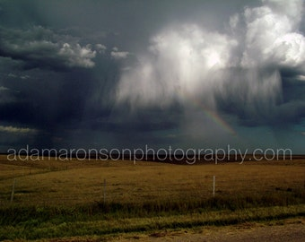 Photograph of rainbow on the Kansas country side
