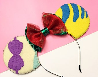 Disney The Little Mermaid Ariel & Flounder Minnie Mouse Ears Headband
