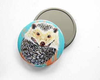 Hedgehog Art Pocket Mirror 3.5 inch- Hedgehog Hand Mirror,  Compact Mirror